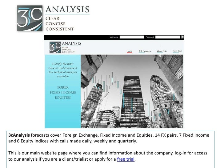 3cAnalysis forecasts cover Foreign Exchange, Fixed Income and Equities. 14 FX pairs, 7 Fixed Incomeand 6 Equity Indices wi...