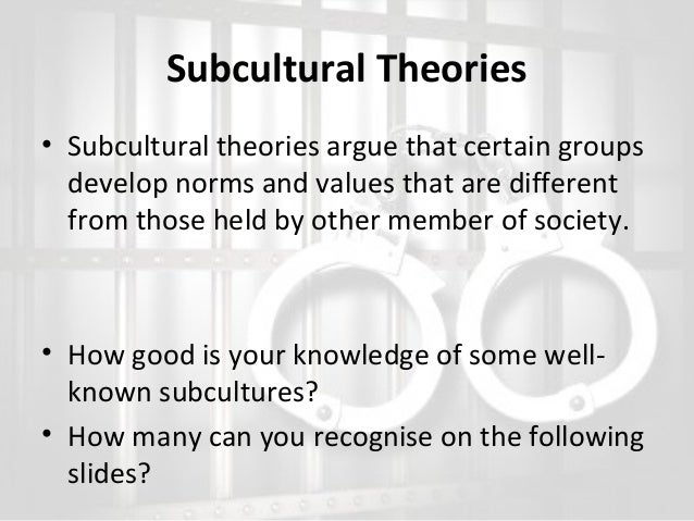 subcultural theories of crime and deviance essay Crime and deviance exam questions crime questions – qu 1 & 2 – both worth 21 marksyou should spend 30 minutes on each question and each should have a traditional essay structure (include an introduction and a conclusion, at least two sides of the argument, two or more theories, relevant studies and as much evaluation as you can.