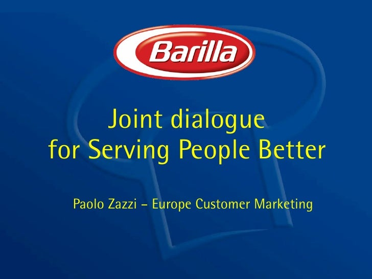 Joint dialogue for Serving People Better   Paolo Zazzi – Europe Customer Marketing