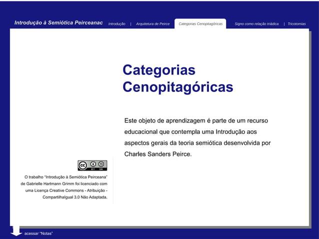 Introdução à Semiótica Peirceanac                   Introdução   |   Arquitetura de Peirce   Categorias Cenopitagóricas   ...