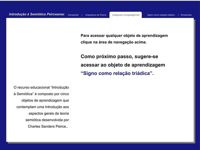 Introdução à Semiótica Peirceanac     Introdução   |   Arquitetura de Peirce   Categorias Cenopitagóricas   Signo como rel...