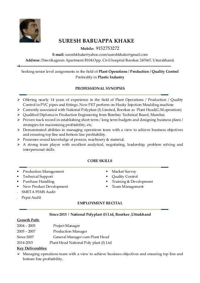Resume For Plant Head Suresh Khake