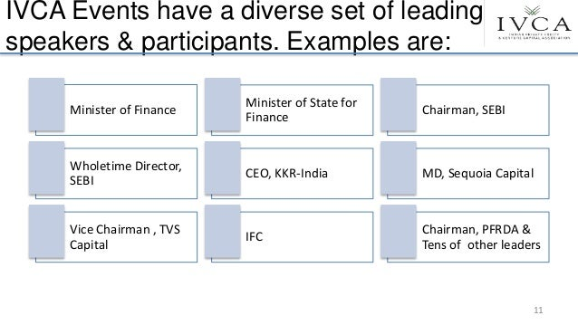 IVCA Events have a diverse set of leading speakers & participants. Examples are: Minister of Finance Minister of State for...