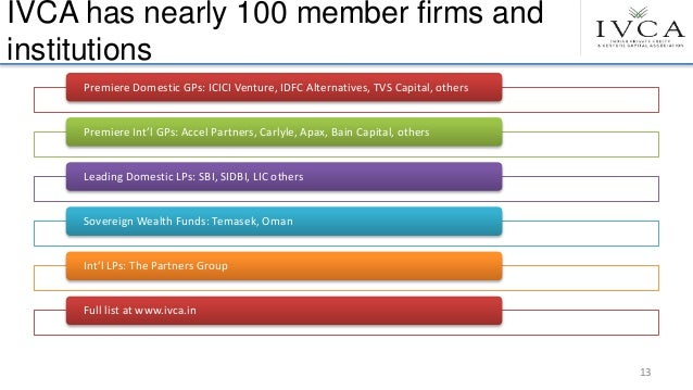 IVCA has nearly 100 member firms and institutions Premiere Domestic GPs: ICICI Venture, IDFC Alternatives, TVS Capital, ot...