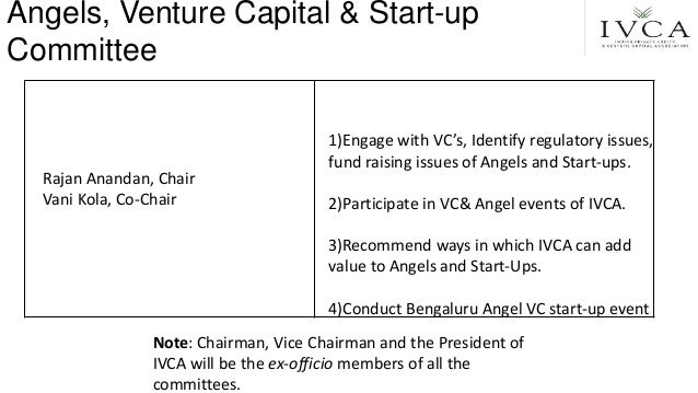 Rajan Anandan, Chair Vani Kola, Co-Chair 1)Engage with VC's, Identify regulatory issues, fund raising issues of Angels and...