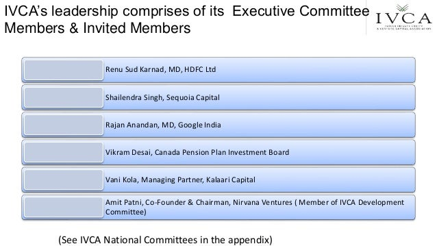 IVCA's leadership comprises of its Executive Committee Members & Invited Members Renu Sud Karnad, MD, HDFC Ltd Shailendra ...