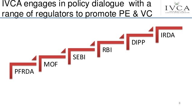IVCA engages in policy dialogue with a range of regulators to promote PE & VC PFRDA MOF SEBI RBI DIPP IRDA 8