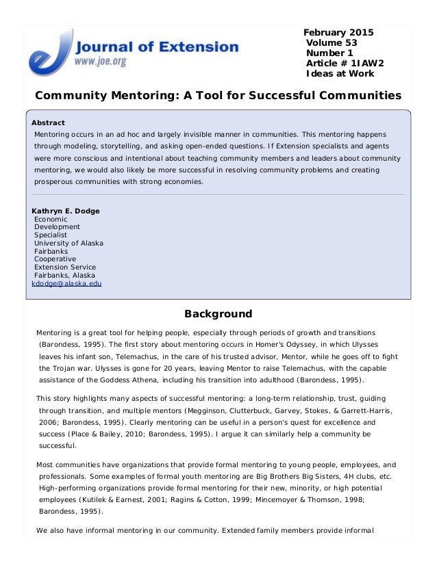 Community Mentoring- A tool for successful communities