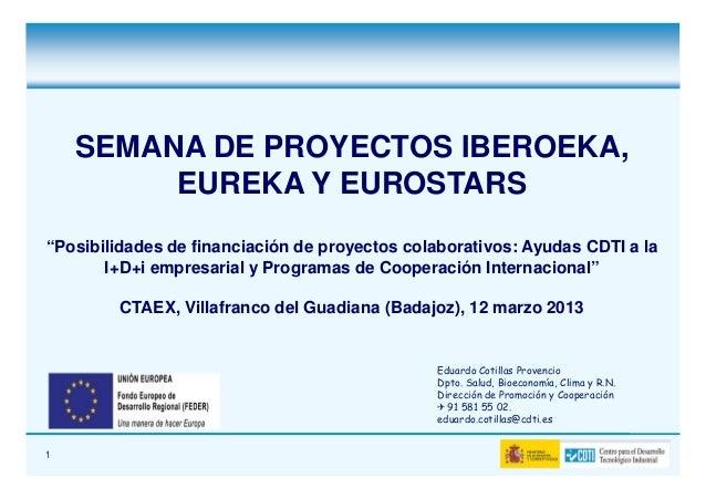 """SEMANA DE PROYECTOS IBEROEKA,         EUREKA Y EUROSTARS""""Posibilidades de financiación de proyectos colaborativos: Ayudas ..."""