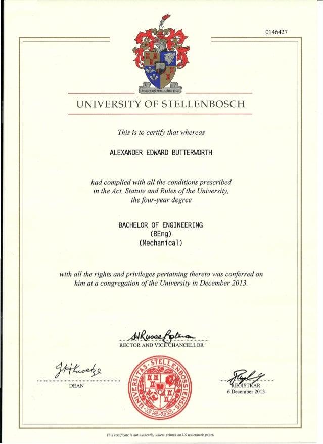 0146427 DEAN ...... ~~ . ~E~~ ..· 6 December 2013 UNIVERSITY OF STELLENBOSCH This is to certify that whereas ALEXANDER EDW...