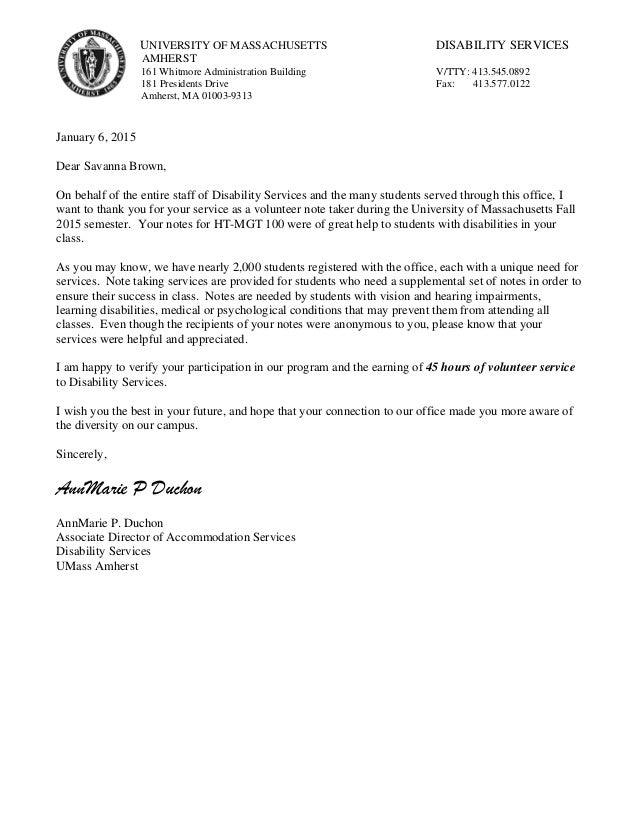 Community Service Letter. UNIVERSITY OF MASSACHUSETTS DISABILITY SERVICES  AMHERST 161 Whitmore Administration Building V/TTY: 413.545. Good Looking