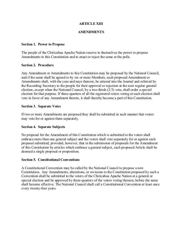 Constitution Of The Chiricahua Apache Nation