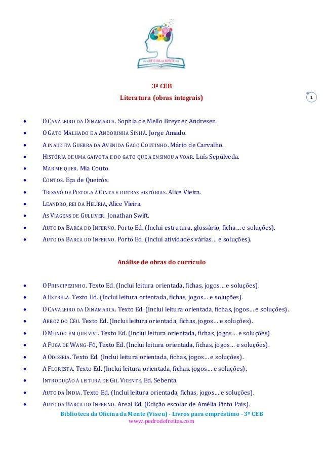 Biblioteca da Oficina da Mente (Viseu) - Livros para empréstimo - 3º CEB www.pedrodefreitas.com 1 3º CEB Literatura (obras...