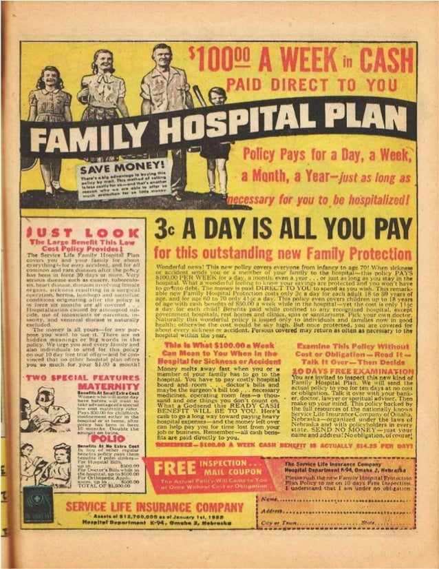 3 Cents A Day Medical Insurance   1952