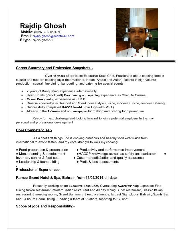 Resume Ex Sous Chef