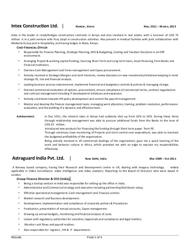 resume of sunil revised