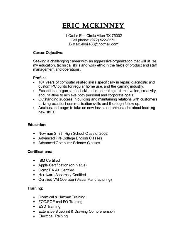 home computer repair resume