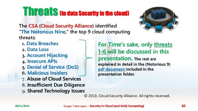 security threats in cloud computing A cybersecurity model in cloud computing environments they catalog and classify the types of security threats that arise in cloud computing or are amplified by.