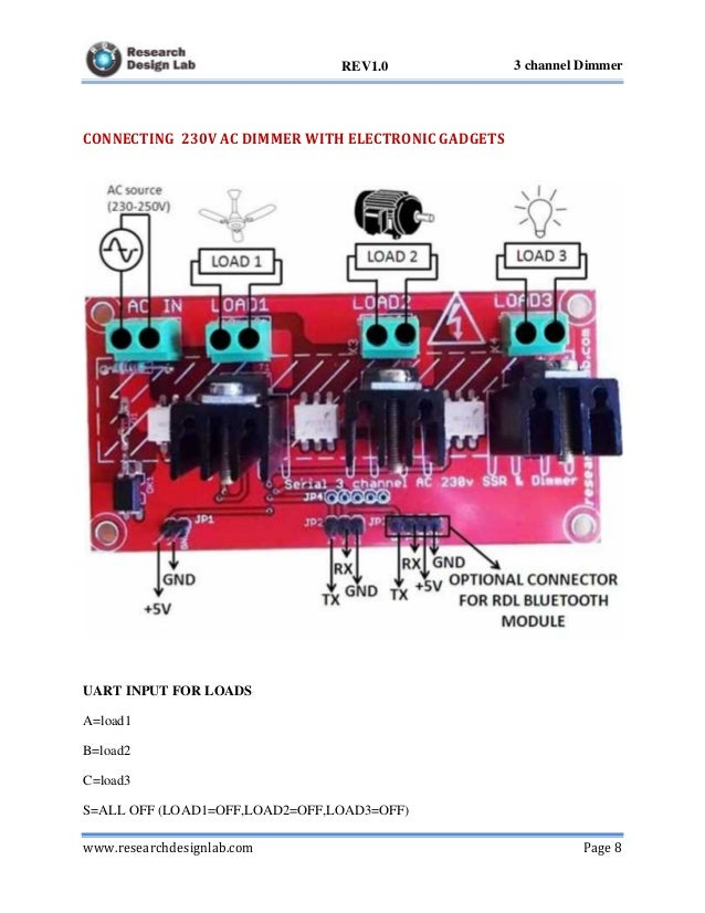 Serial 3 Channel AC 230V SSR and Dimmer