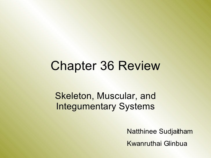 Chapter 36 Review Skeleton, Muscular, and Integumentary Systems Natthinee Sudjaitham Kwanruthai Glinbua