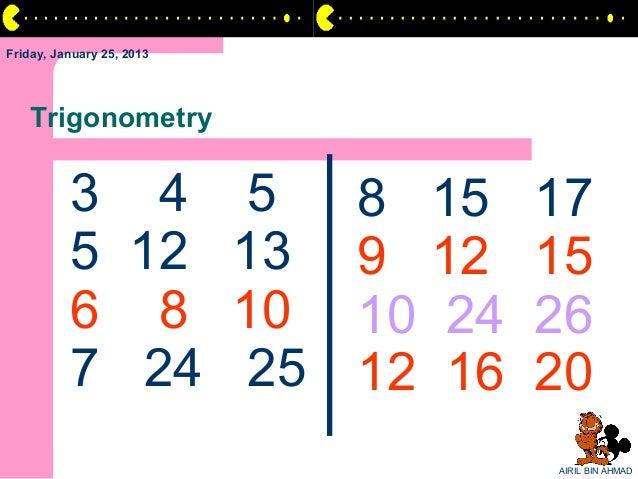 Friday, January 25, 2013   Trigonometry          3 4 5            8 15    17          5 12 13          9 12    15         ...