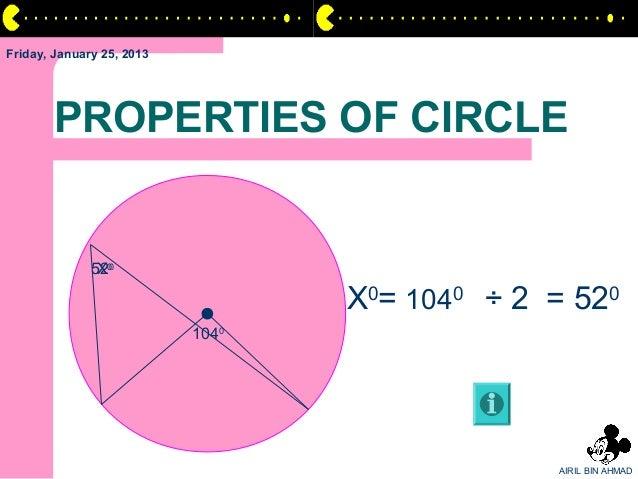 Friday, January 25, 2013       PROPERTIES OF CIRCLE              520               X0                                  X0=...