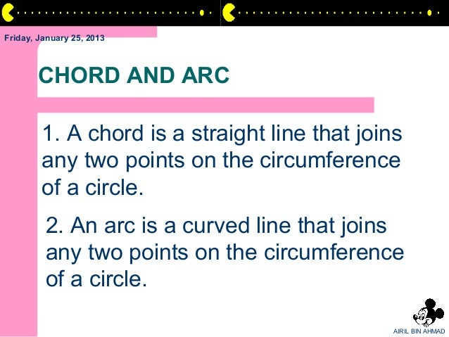 Friday, January 25, 2013       CHORD AND ARC        1. A chord is a straight line that joins        any two points on the ...