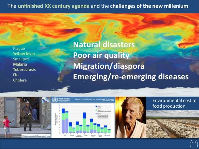 Natural disasters Poor air quality Migration/diaspora Emerging/re-emerging diseases The unfinished XX century agenda and t...