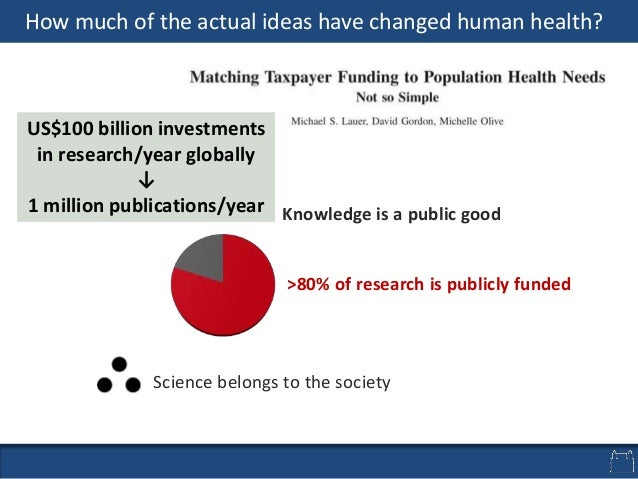 Science belongs to the society Knowledge is a public good >80% of research is publicly funded US$100 billion investments i...