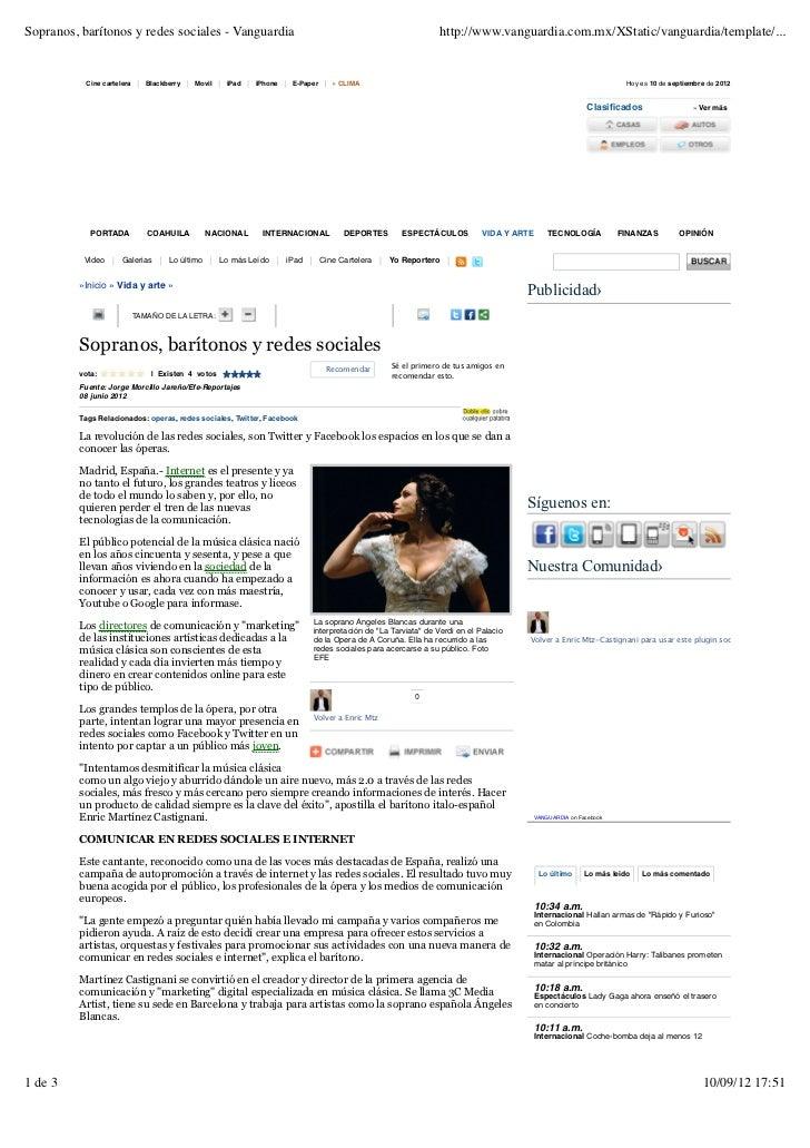 Sopranos, barítonos y redes sociales - Vanguardia                                                              http://www....