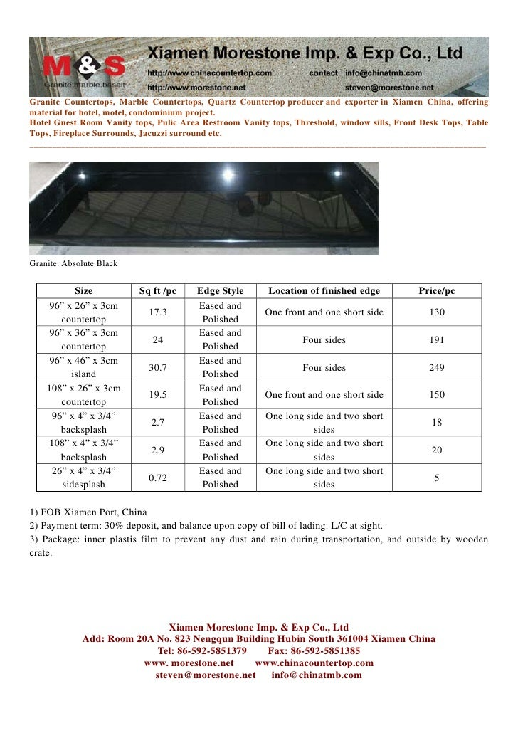 3cm Thickness Prefab Countertop Blank Pricelist