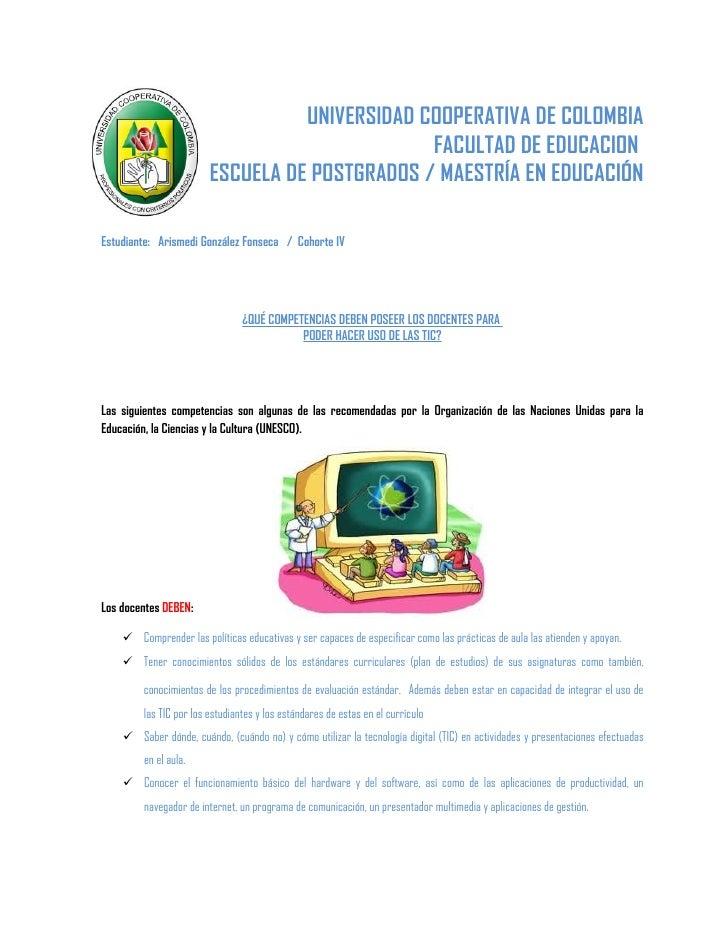 UNIVERSIDAD COOPERATIVA DE COLOMBIA                                               FACULTAD DE EDUCACION                   ...