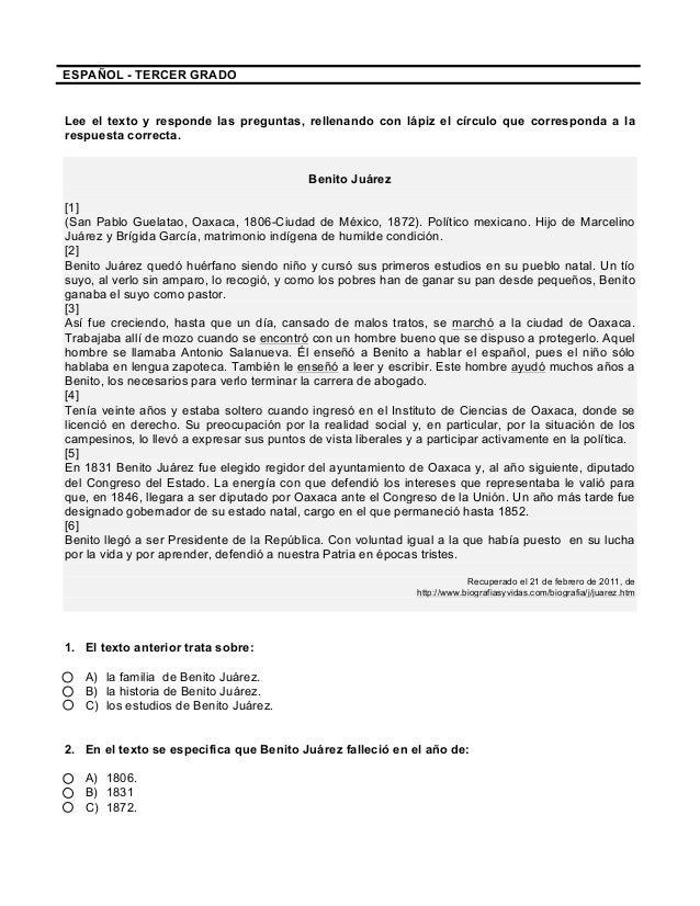 ESPAÑOL - TERCER GRADO Lee el texto y responde las preguntas, rellenando con lápiz el círculo que corresponda ...