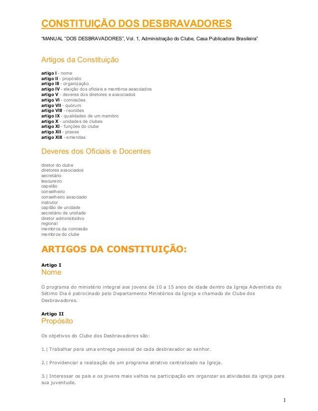 """1 CONSTITUIÇÃO DOS DESBRAVADORES """"MANUAL """"DOS DESBRAVADORES"""", Vol. 1, Administração do Clube, Casa Publicadora Brasileira""""..."""