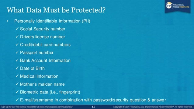 What Data Must be Protected? • Payment Card Information (PCI)  Primary Account Number (PAN)  Cardholder Name  Expiratio...