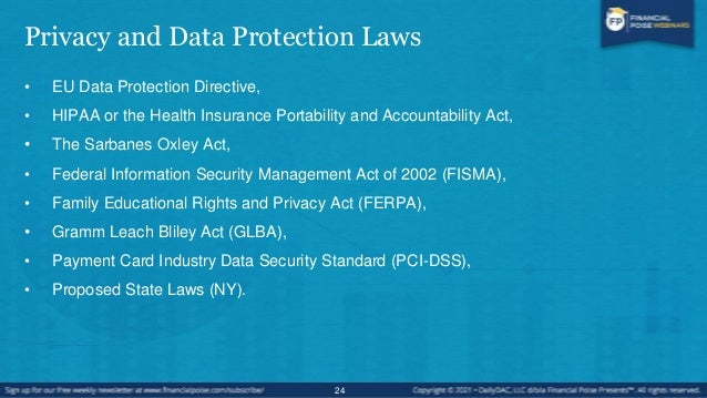 U.S. Legal Framework • Variety of industry specific laws, usually Federal laws • State laws (newer development) • Self-reg...