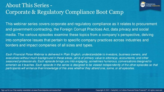 Episodes in this Series #1: Procurement & Government Contracting Compliance Premiere date: 2/10/21 #2: Foreign Corrupt Pra...