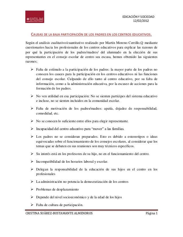 EDICACIÓN Y SOCIEDAD                                                                          12/02/2012   CAUSAS DE LA BA...