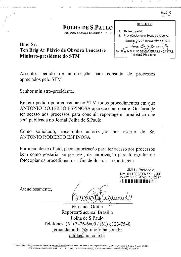 3 Cpia Da Solicitao Da Jornalista Fernanda Odilla Ao Stm De Acesso A Informaes Sobre Antonio Espinosa