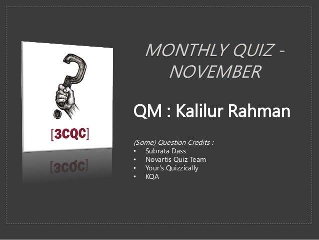 Hyderabad 3rd City Quiz Club November 2017 Quiz Kalilur Rahman