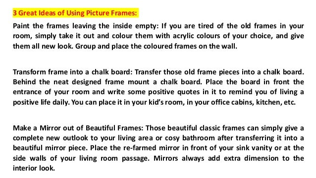 3 Creative Uses Of Picture Frames