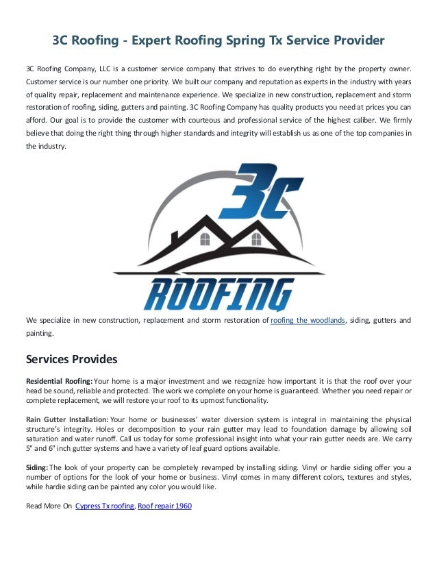 Exceptional 3C Roofing   Expert Roofing Spring Tx Service Provider 3C Roofing Company,  LLC Is A
