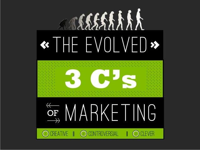 THE EVOLVEDmarketingOF3 C'sCREATIVE CLEVER1 CONTROVERSIAL2 3