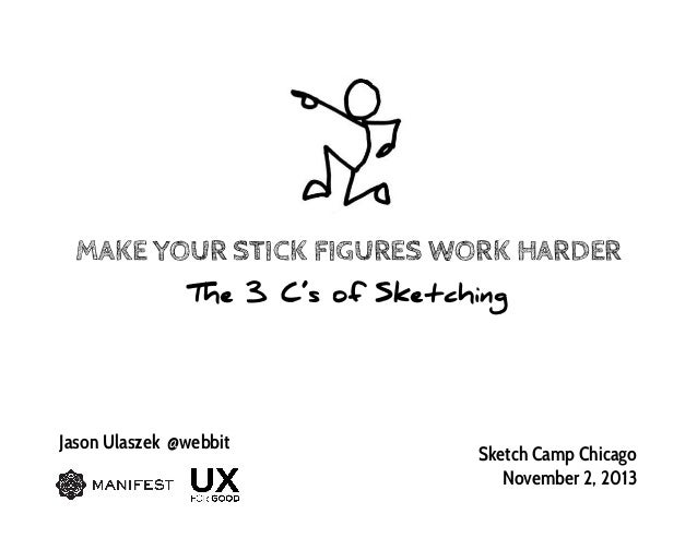 MAKE YOUR STICK FIGURES WORK HARDER The 3 C's of Sketching  Jason Ulaszek @webbit  Sketch Camp Chicago November 2, 2013