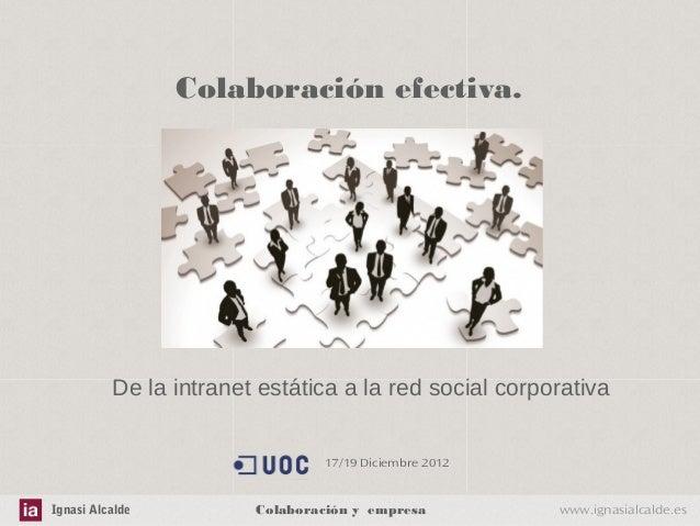 Colaboración efectiva.          De la intranet estática a la red social corporativa                                17/19 D...
