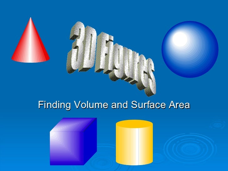 Finding Volume and Surface Area 3D Figures