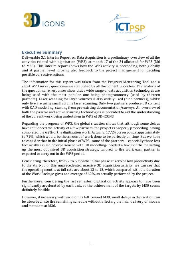 Data Acquisition Icom : D icons interim report on data acquisition