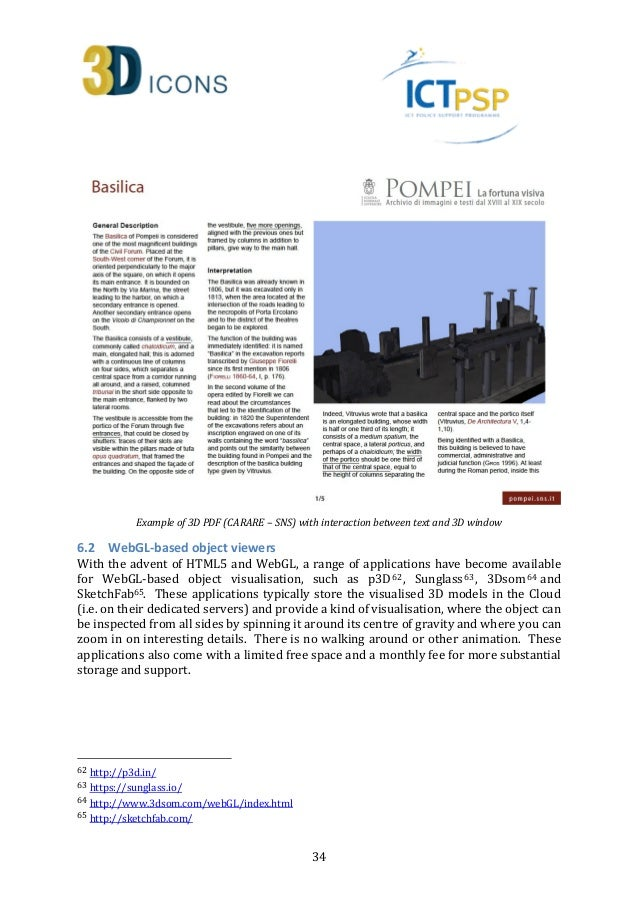3D-ICONS - D5 1: Report on 3D Publication Formats Suitable
