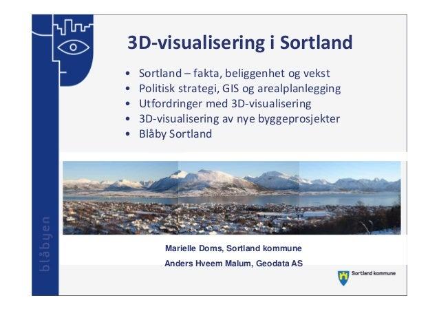 3D‐visualiseringiSortland • • • • •  Sortland– fakta,beliggenhetogvekst Politiskstrategi,GISogarealplanlegging U...