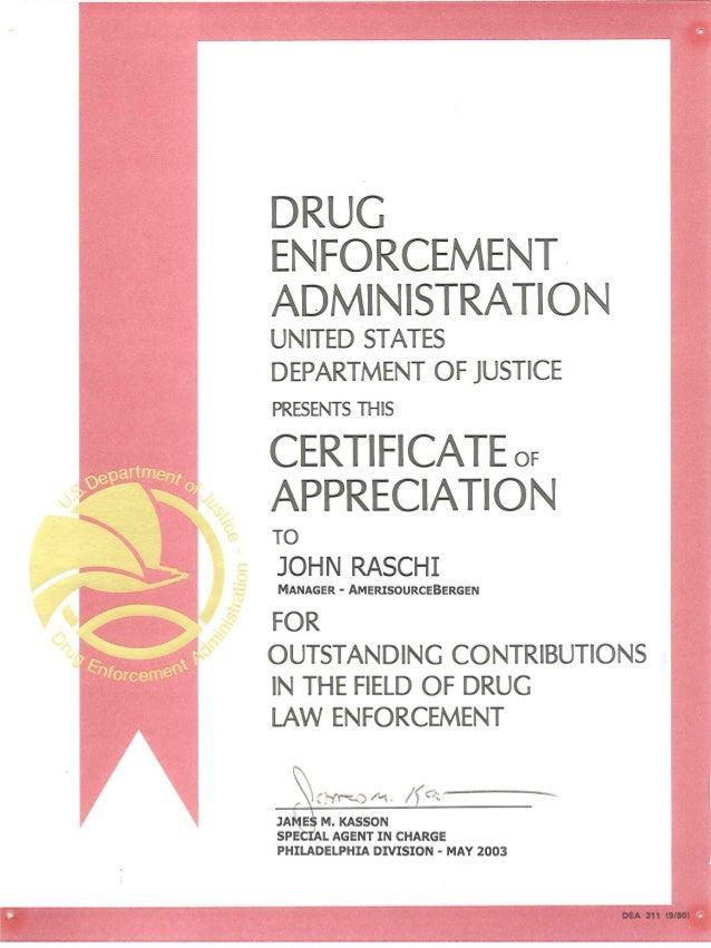 Dea Certificate Of Appreciation